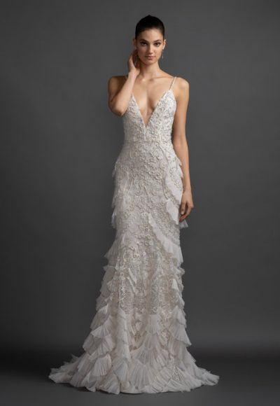 V-neck Embroidered Wedding Dress With Ruffles by Lazaro