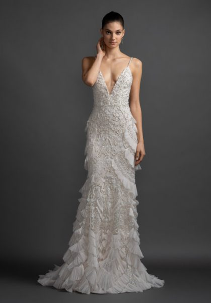 V-neck Embroidered Wedding Dress With Ruffles by Lazaro - Image 1