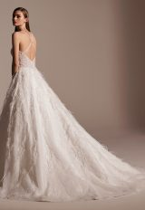 Sleeveless V-neck Feathered Ball Gown Wedding Dress by Pronovias - Image 2