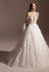 Sleeveless V-neck Feathered Ball Gown Wedding Dress by Pronovias - Image 1