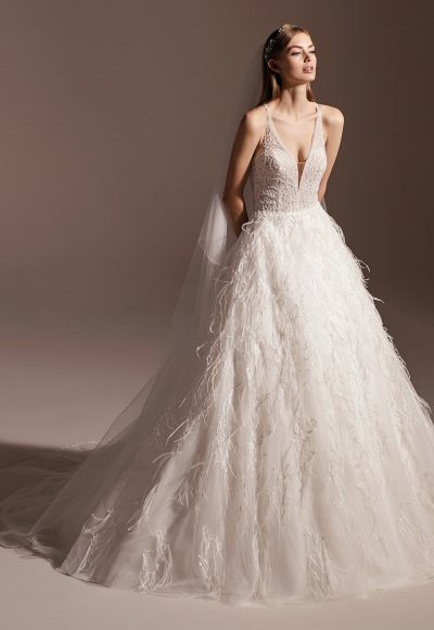 Sleeveless V-neck Feathered Ball Gown Wedding Dress by Pronovias