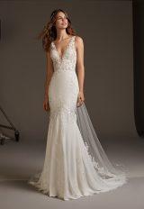 V-neck Crepe Mermaid Wedding Dress by Pronovias - Image 1