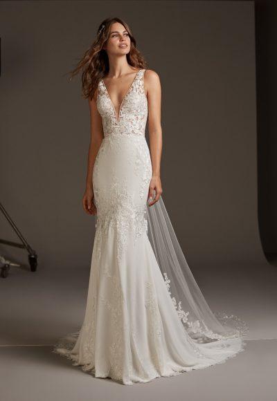 V-neck Crepe Mermaid Wedding Dress by Pronovias
