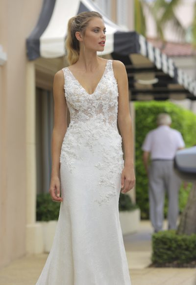 Lace Sheer Bodice Wedding Dress by Randy Fenoli