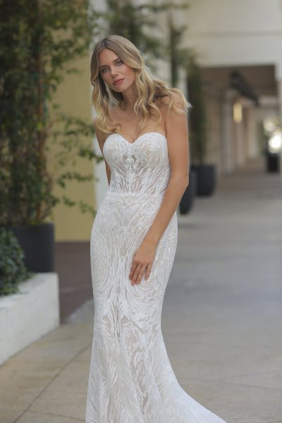Randy Fenoli Wedding Dresses.Strapless Glitter Embroidered Wedding Dress