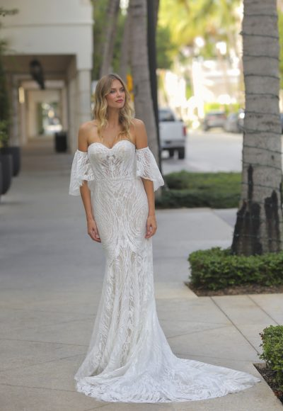 Strapless Glitter Embroidered Wedding Dress by Randy Fenoli