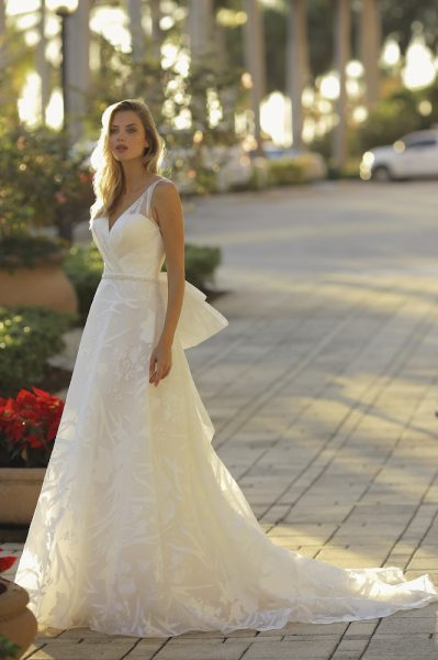 V-neck A-line Floral Embroidered Wedding Dress by Randy Fenoli - Image 1