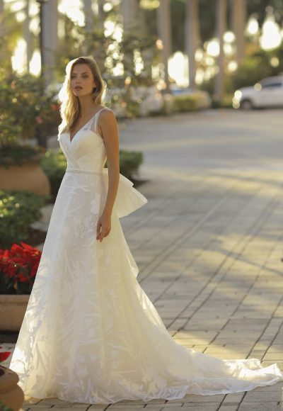 V-neck A-line Floral Embroidered Wedding Dress by Randy Fenoli