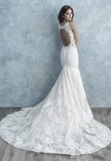 All Over Lace Sleeveless V-neck Fit And Flare Wedding Dress by Allure Bridals - Image 2