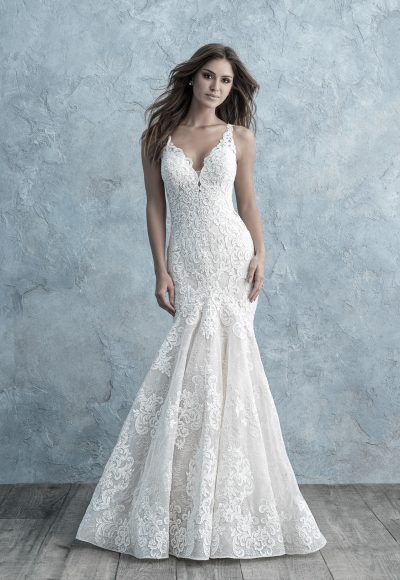 All Over Lace Sleeveless V-neck Fit And Flare Wedding Dress by Allure Bridals