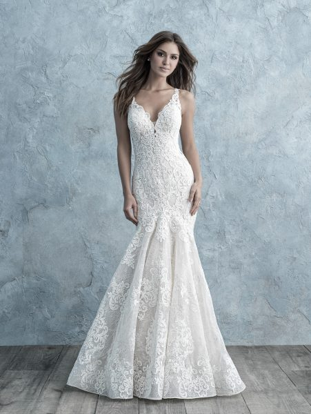 All Over Lace Sleeveless V-neck Fit And Flare Wedding Dress by Allure Bridals - Image 1
