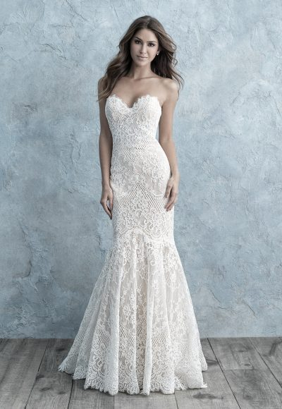 Allover Lace Sweetheart Strapless Mermaid Wedding Dress by Allure Bridals