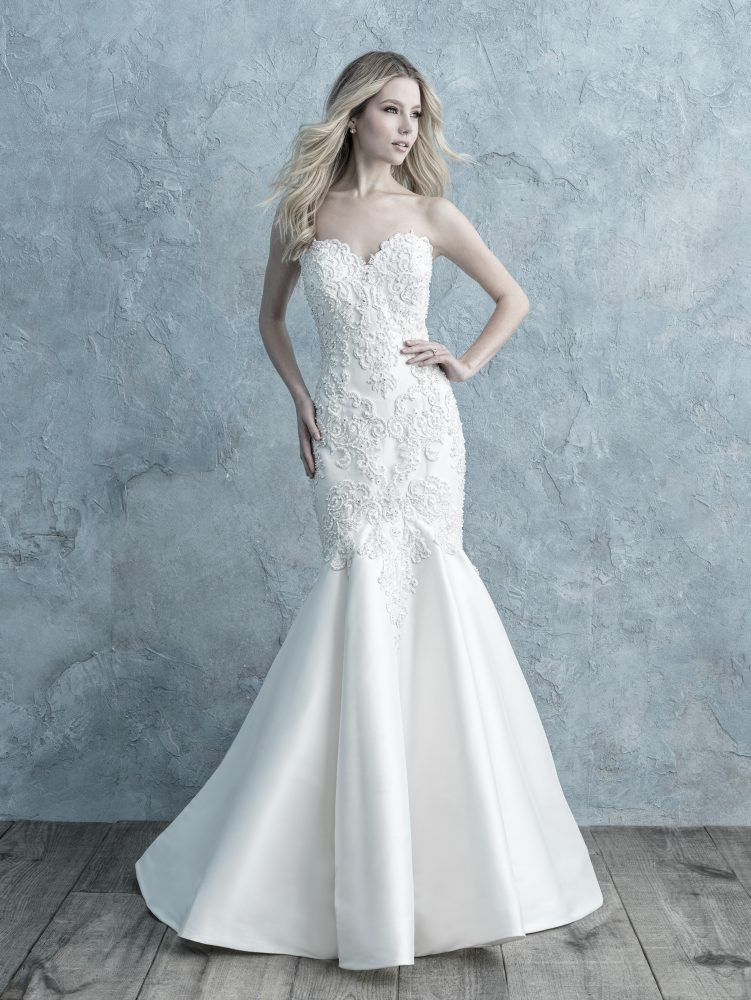 Beaded Lace Appliqué Sweetheart Strapless Fit And Flare Wedding Dress by Allure Bridals - Image 1