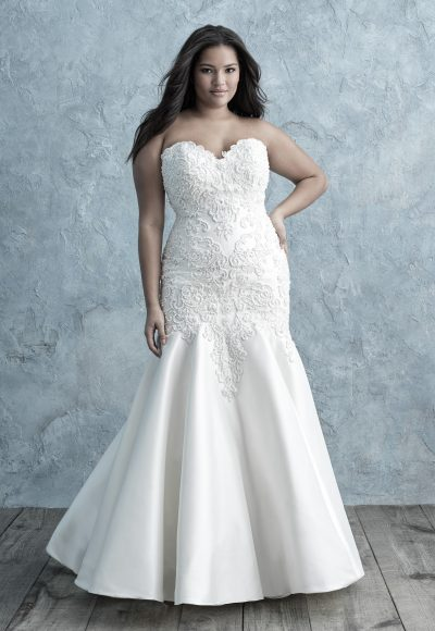 Beaded Lace Appliqué Sweetheart Strapless Fit And Flare Wedding Dress by Allure Bridals