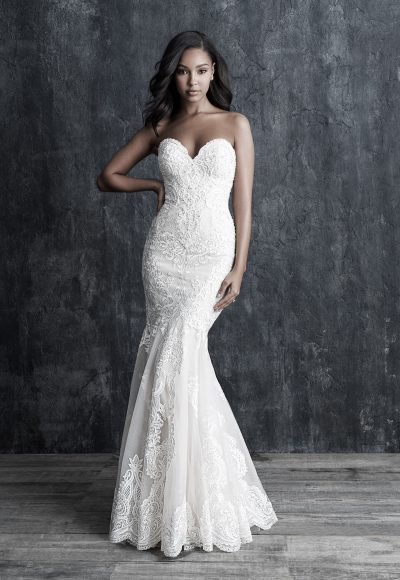 Fit And Flare Sweetheart Lace Wedding Dress by Allure Bridals