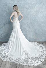 Spaghetti Strap Lace Bodice Crepe Sheath Wedding Dress by Allure Bridals - Image 2