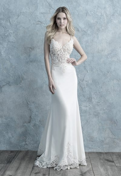 Spaghetti Strap Lace Bodice Crepe Sheath Wedding Dress by Allure Bridals