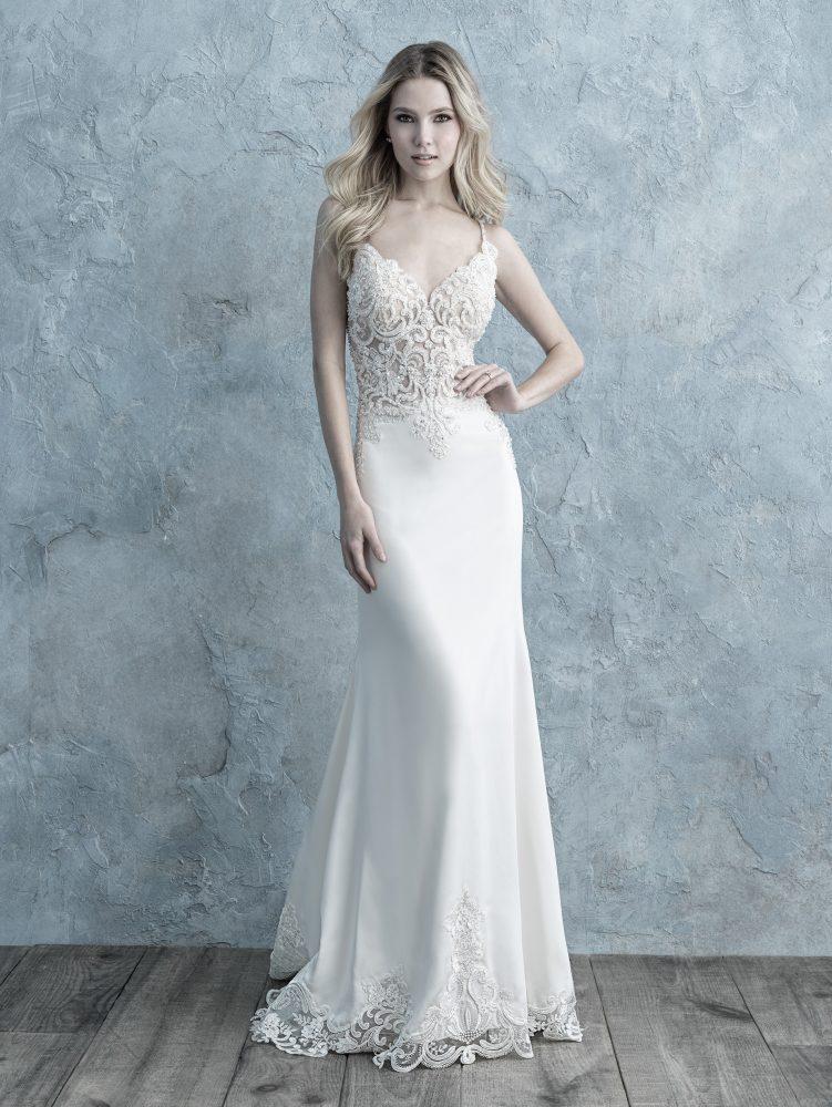 Spaghetti Strap Lace Bodice Crepe Sheath Wedding Dress by Allure Bridals - Image 1