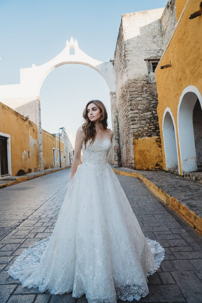 Strapless Beaded Shimmer Ball Gown by Allure Bridals - Image 1