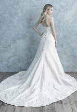 Strapless Mikado A-line Wedding Dress With Lace Appliqué by Allure Bridals - Image 2