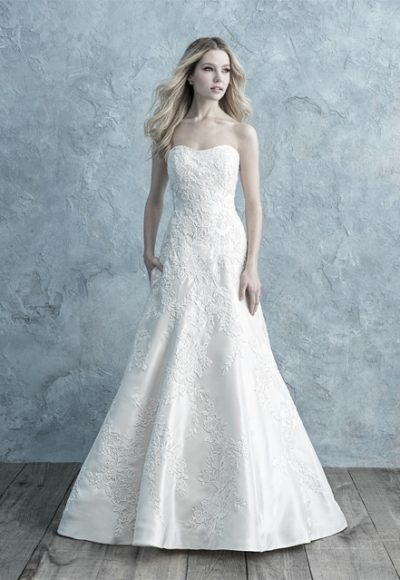 Strapless Mikado A-line Wedding Dress With Lace Appliqué by Allure Bridals