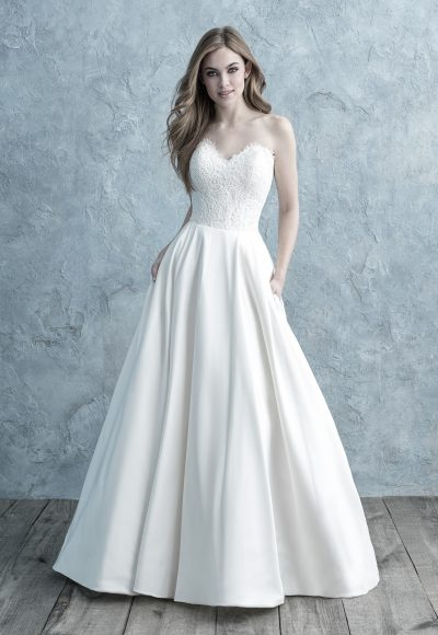 Strapless Sweetheart A-line Wedding Dress With Lace Bodice And Mikado Skirt by Allure Bridals