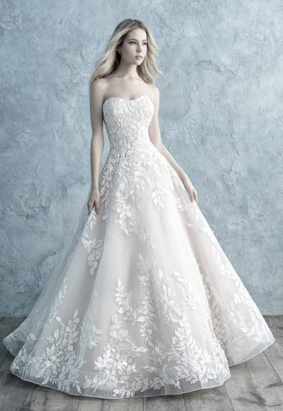 Strapless Sweetheart Floral Lace Applique Ball Gown Wedding Dress by Allure Bridals