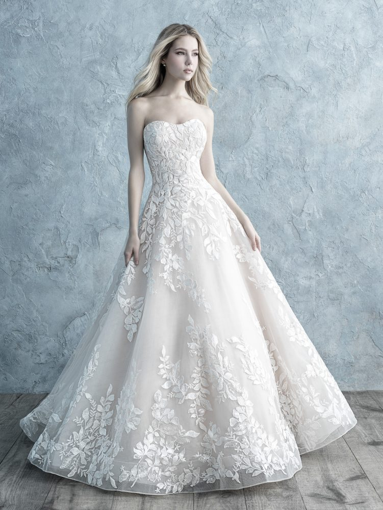Strapless Sweetheart Floral Lace Applique Ball Gown Wedding Dress by Allure Bridals - Image 1