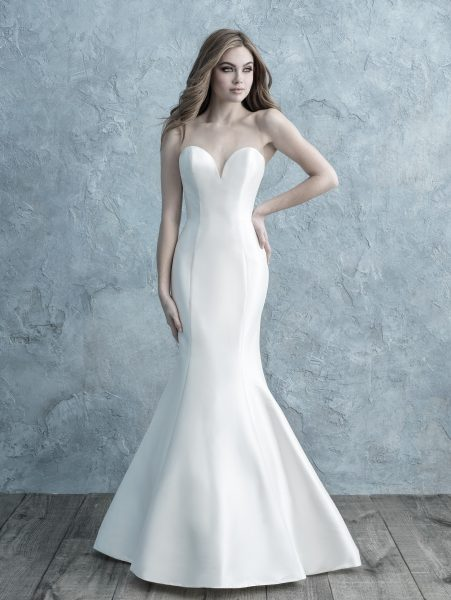 Strapless Sweetheart Silk Mikado Fit And Flare Wedding Dress by Allure Bridals - Image 1