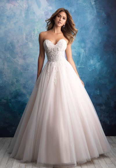 Strapless Tulle Ballgown Wedding Dress by Allure Bridals