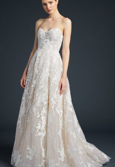 Strapless Tulle Lace Skirt Wedding Dress by Anne Barge