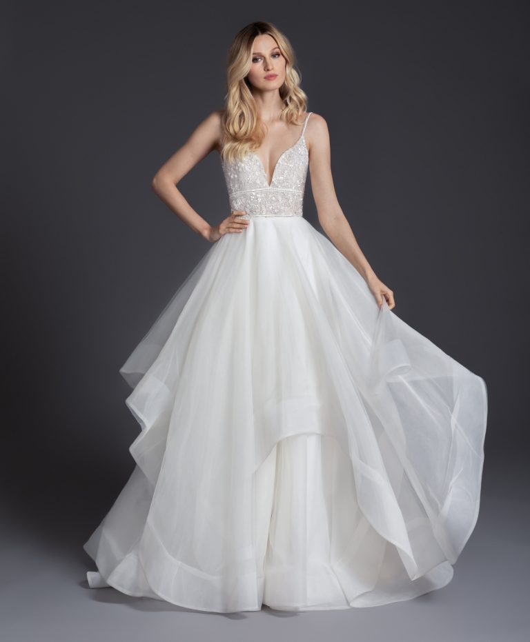 V-neckline Spaghetti Strap Ball Gown Wedding Dress With Ruffled Skirt by BLUSH by Hayley Paige - Image 1