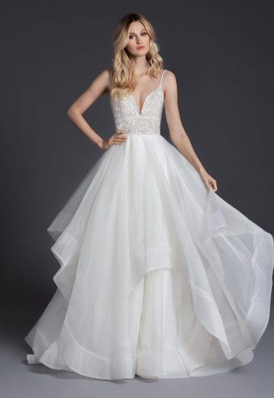 V-neckline Spaghetti Strap Ball Gown Wedding Dress With Ruffled Skirt by BLUSH by Hayley Paige