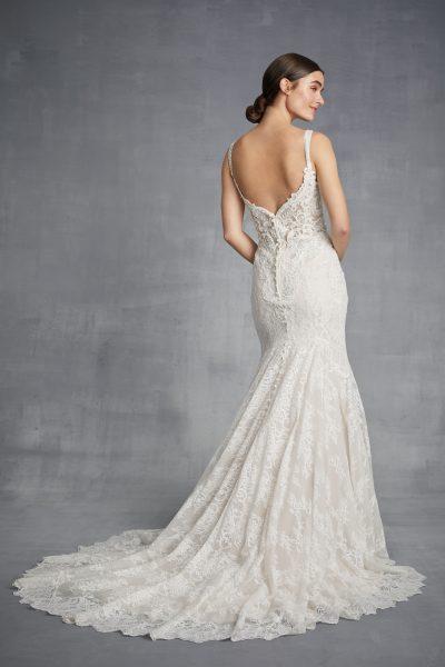 Lace Sleeveless V-neck Beaded Bodice Fit And Flare Wedding Dress by Danielle Caprese - Image 2