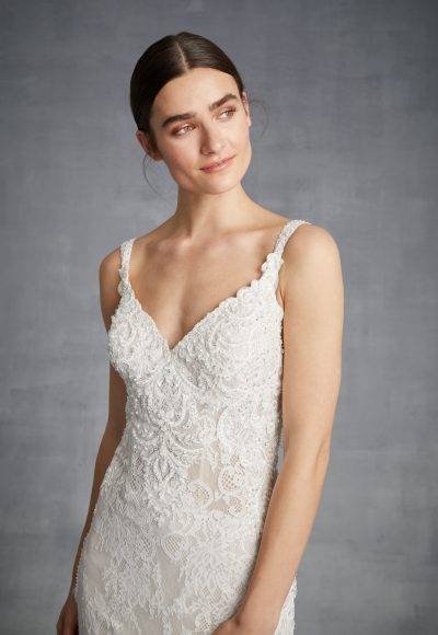 Lace Sleeveless V-neck Beaded Bodice Fit And Flare Wedding Dress by Danielle Caprese
