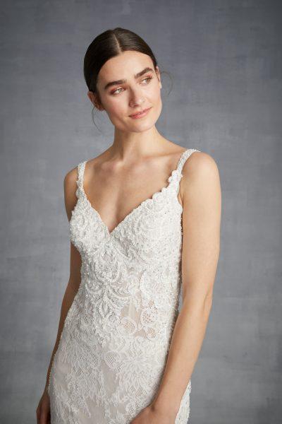 Lace Sleeveless V-neck Beaded Bodice Fit And Flare Wedding Dress by Danielle Caprese - Image 1