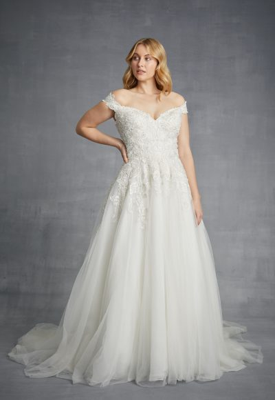 Off The Shoulder Beaded A-line Tulle Wedding Dress by Danielle Caprese