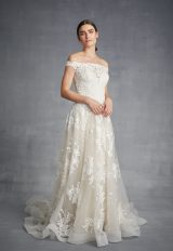 Off The Shoulder Lace Bodice Tulle Skirt Wedding Dress by Danielle Caprese - Image 1