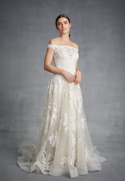 Off The Shoulder Lace Bodice Tulle Skirt Wedding Dress by Danielle Caprese