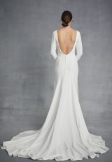 Simple Long Sleeve Bateau Necckline Wedding Dress by Danielle Caprese - Image 2