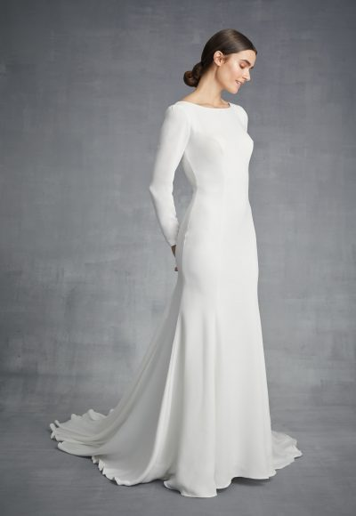 Simple Long Sleeve Bateau Necckline Wedding Dress by Danielle Caprese
