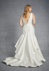 Simple V-neck Fit And Flare Silk Wedding Dress by Danielle Caprese - Image 2
