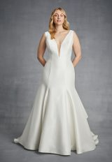 Simple V-neck Fit And Flare Silk Wedding Dress by Danielle Caprese - Image 1
