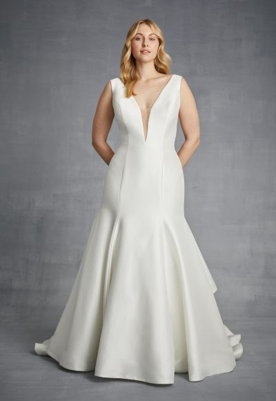 Simple V-neck Fit And Flare Silk Wedding Dress by Danielle Caprese