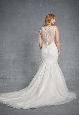 Sleeveless V-neck Lace Mermaid Wedding Dress With Tulle Skirt by Danielle Caprese - Image 2