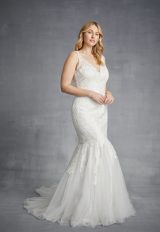 Sleeveless V-neck Lace Mermaid Wedding Dress With Tulle Skirt by Danielle Caprese - Image 1