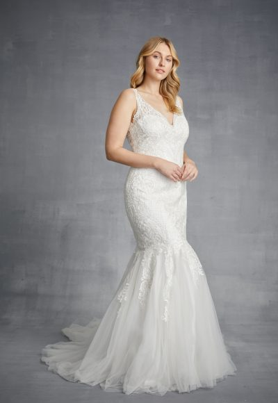 Sleeveless V-neck Lace Mermaid Wedding Dress With Tulle Skirt by Danielle Caprese