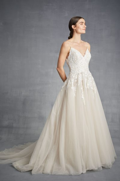 Spaghetti Strap A-line Tulle Wedding Dress by Danielle Caprese - Image 2