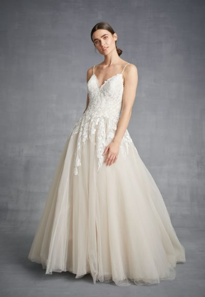 Spaghetti Strap A-line Tulle Wedding Dress by Danielle Caprese