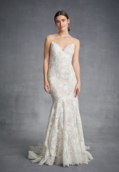 Spaghetti Strap Mermaid Lace Wedding Dress by Danielle Caprese